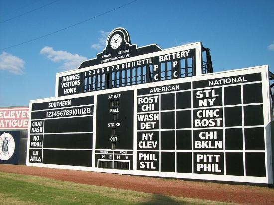 Rickwood Field Park: scoreboard of Rickwood Field
