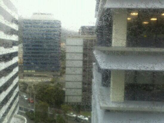 Bolton Hotel Wellington: this is not rain... its dirt from our hotel window!