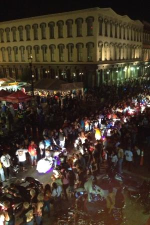 The Strand at night during the Lone Star Rally