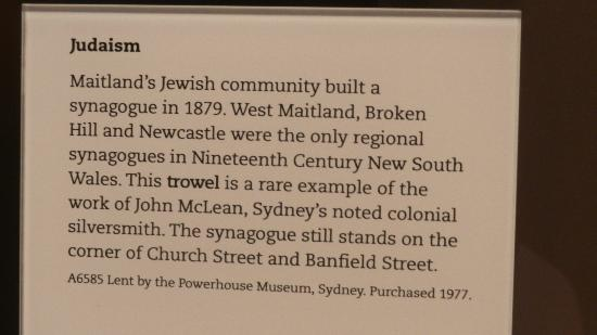 Newcastle, Australia: Example of the random item descriptions; what's the trowel got to do with the synagogue?