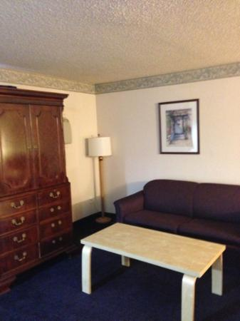 "Super 8 by Wyndham SeaTac Airport: the ""living room"" that couch looked worse in person all stained"