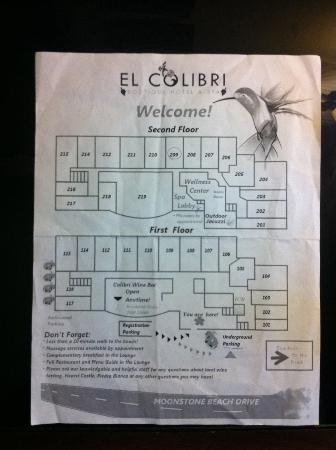 El Colibri Hotel and Spa: map of the hotel