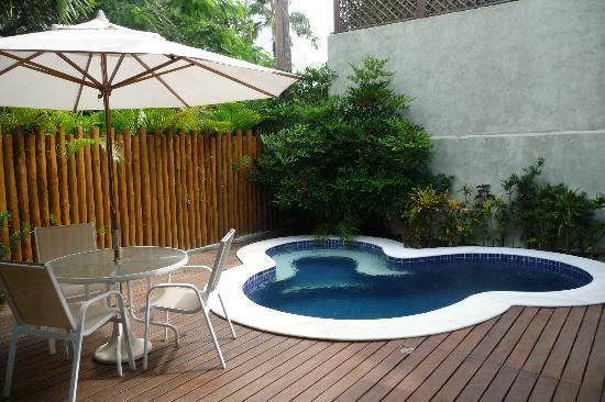 Pousada Rosa dos Ventos: Blick auf den Pool vom Frühstücksraum