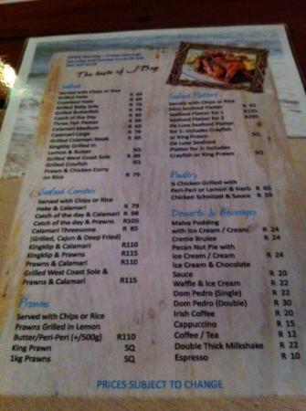 Tapas Beach Restaurant: Speisekarte