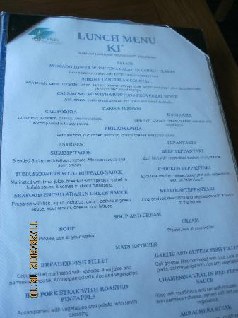 GR Caribe by Solaris: Example of a menu