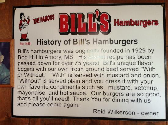 Bill's Hamburgers: Bill's History