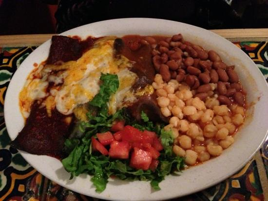 Orlando's New Mexican Cafe: Los Colores - 3 blue corn tortilla enchiladas, posole, beans, salsa.