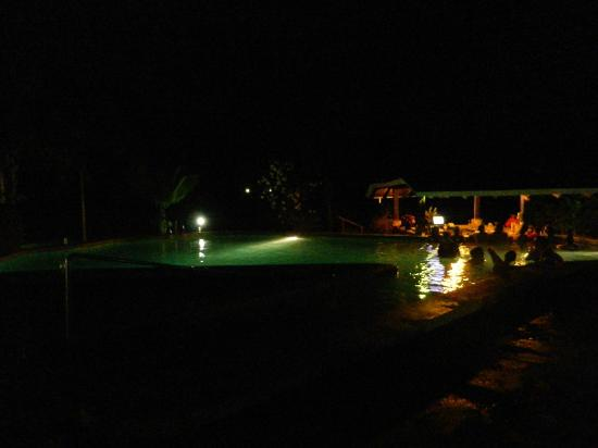 Arenal Manoa Hotel: Hot spring pool and bar at night