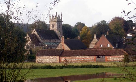 The Swan at Stoford: View of Great Wishford Parish Church taken from the hotel Beer Garden