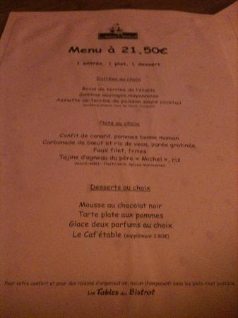 Les Tables du Bistrot : Menu à 21,50€