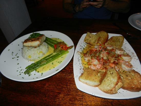 Upstairs at the RipJack: Mahi mahi, and garlic shrimp