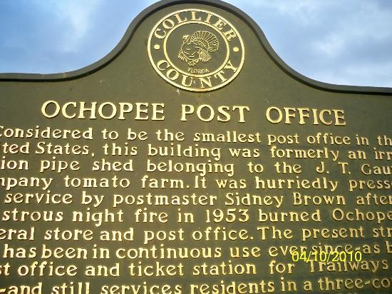 Ochopee Post Office: Historical Marker