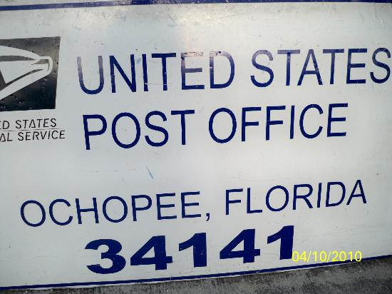 Ochopee Post Office: Sign indicating Post Office location and Zip code