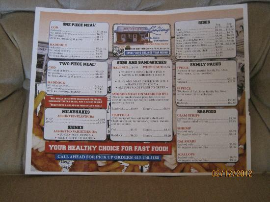 Kemptville, Canada: Take-Out Menu