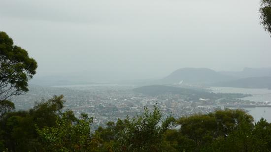 Mount Nelson Lookout: View towards the Bridge from Mt Nelson lookout on a damp day