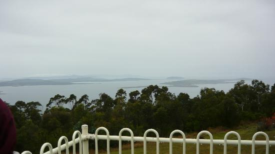 Mount Nelson Lookout: View towards Bruny Island from Mt Nelson lookout on a damp day