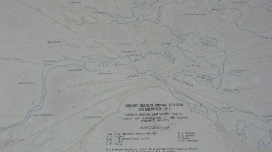 Mount Nelson Lookout: Map of viewing area for MtNelson Lookout