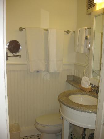 Small but fine bathroom, Hawthorne Hotel, Salem, MA