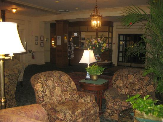 Lovely lobby & reception desk, Hawthorne Hotel, Salem, MA