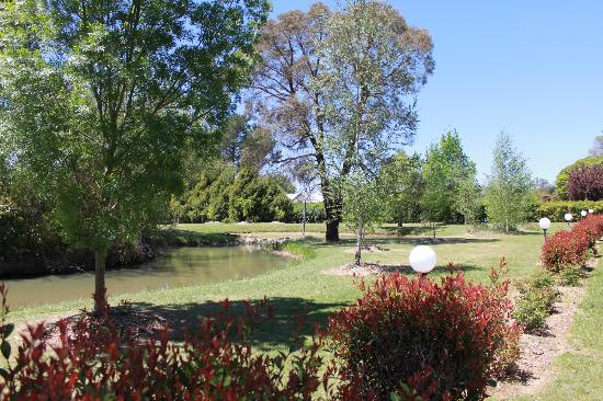 Armidale Tourist Park: Landscaped pond and camping grounds