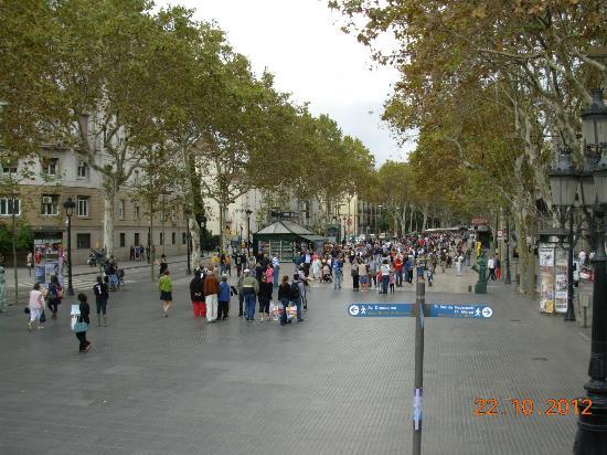 Catalonia Avinyo: LasRamblas berömd promenadgata med målande Artister