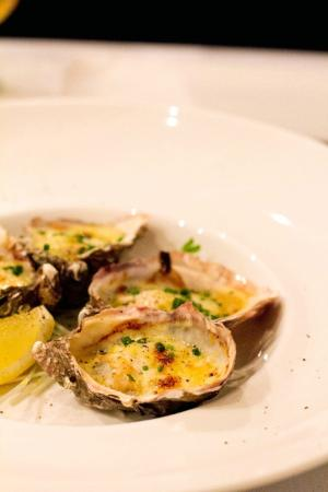 Allure on Currumbin: Oysters gratinated with blue swimmer crabmeat, leek and chive Mornay