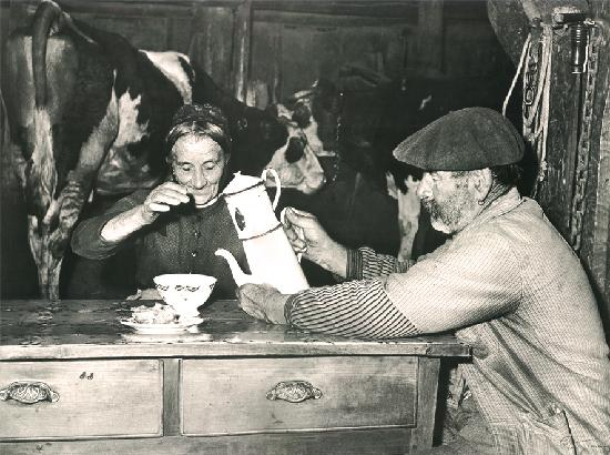 Luigi Malones enjoying tea with his wife