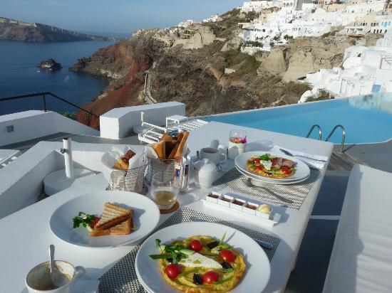 Katikies Hotel: petit dejeuner servi
