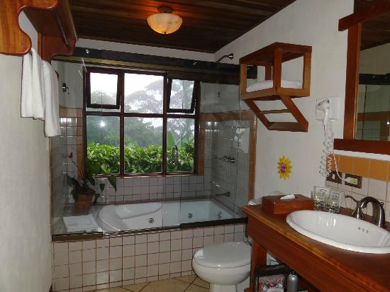 Villa Blanca Cloud Forest Hotel and Nature Reserve: Bathroom with a view