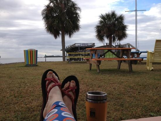 The Gulf Side Motel: enjoying a cool December morning at Gulf Side on Cedar Key