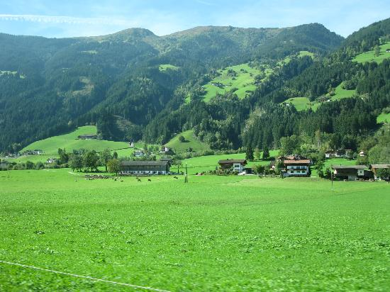 Hippach, Austria: View of valley and mountains
