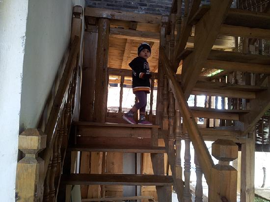 The Bruce Chalet: My baby enjoying the wooden staircase