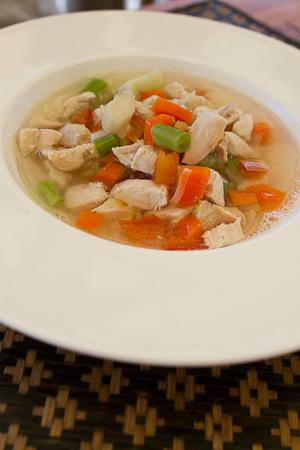 Jeeva Beloam Beach Camp: A typical meal - My entree Chicken egetable soup