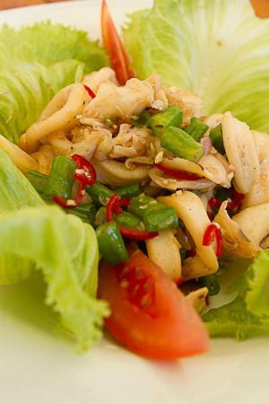 Jeeva Beloam Beach Camp: A typical meal - Hub's entree Squid Salad