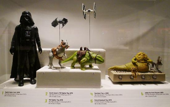 Some of the many star wars collectible toys on display for Star wars museum california