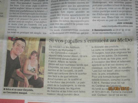 Le Concombre Masque : Article de Midi Libre paru en août 2012