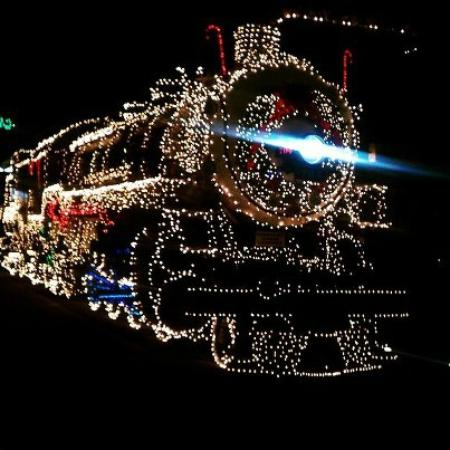 City View Inn & Suites Sunset Station: Train decorated at night (December) Photo opportunity.