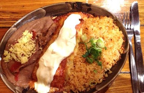 Montezuma's: seafood enchilada with rice & beans- my fave!
