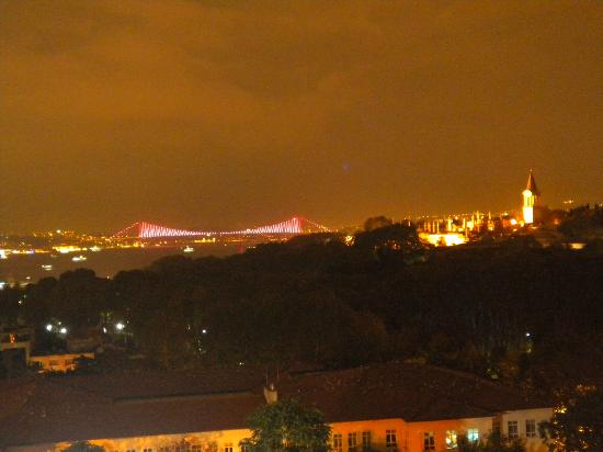 Agora Life Hotel: Topkapi Palace and the Bosphorus bridge from the roof terrace