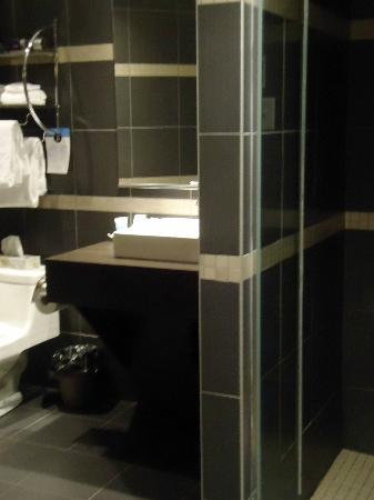 L'Hotel Port-Royal: Black bathroom.note no bathtub
