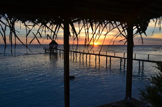 Pension Vaiama Village: Vue de notre bungalow, coucher de soleil depuis notre petite terrasse!