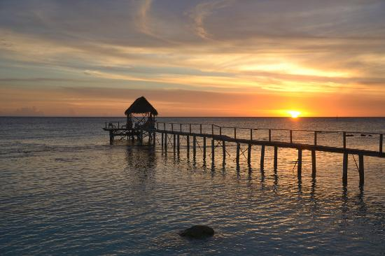 Pension Vaiama Village: Coucher de soleil, vue du bungalow