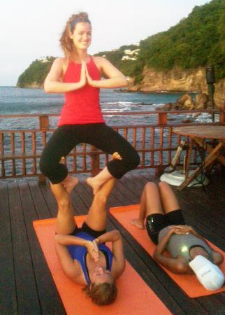 Cap Maison: Acro Yoga on the deck!