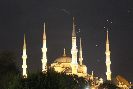 Ibrahim Pasha Hotel: Vue du toit sur la Mosquée bleue