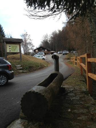 Rifugio Lupi di Toscana : Fontana in legno posta sull'incrocio stradale