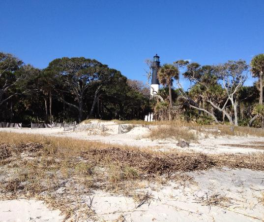 Hunting Island State Park: View of the lighthouse from the beach