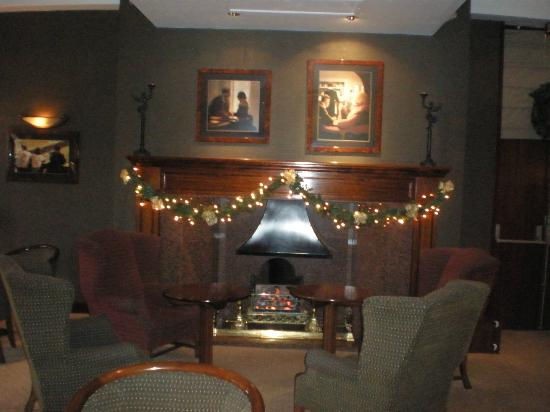 The Vermont Hotel: The fireplace in the bar