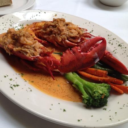 Delmonico's Lobster House: lunch special - 1 lb lobster stuffed with crab meat & shrimp in a lemon-lobster butter sauce wit