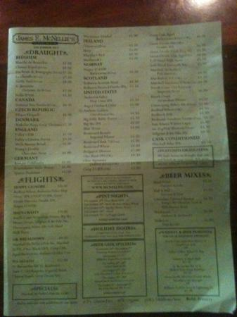 McNellie's Public House : Page 1 of 4 beer list.