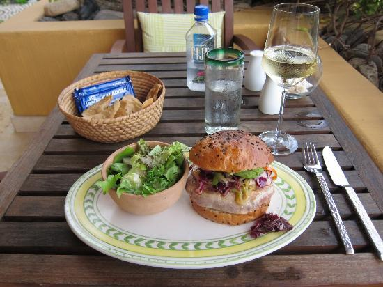 Capella Ixtapa: terrace bar - tuna burger, the more casual of the three restaurants